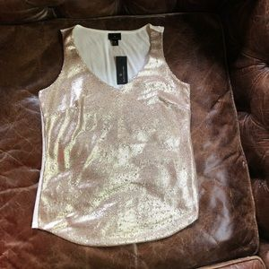 Sequin gold cream sleeveless vneck top